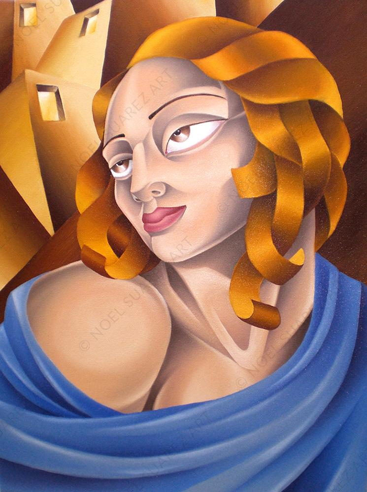 """Urban Madonna"" Original Oil Painting by Miami Artist Noel Suarez"