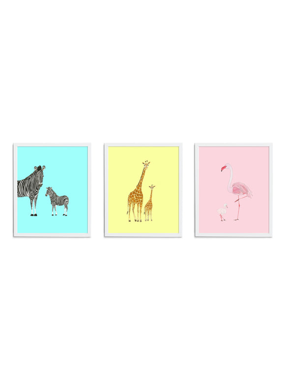 Bright Safari Gift Set - Blue Zebra, Yellow Giraffe, Pink Flamingo Art Prints with White Frames