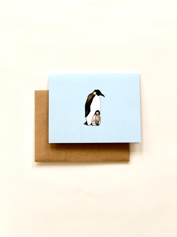 Blue Emperor Penguin Greeting Card with Brown Recycled Envelope