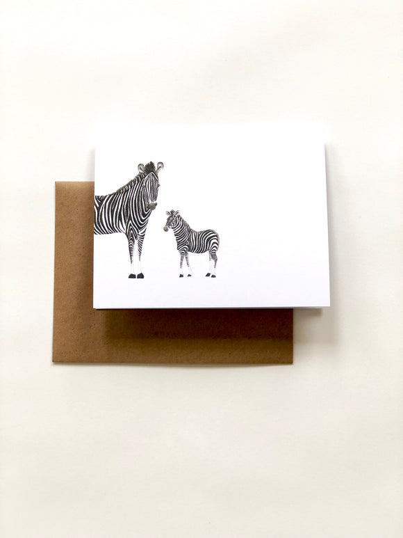 Zebra Duo Greeting Card—White - Wee Wild Ones - Art Prints
