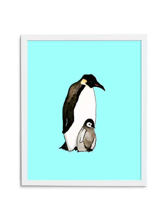 Blue Emperor Penguin Dad and Baby Art Print in White Frame