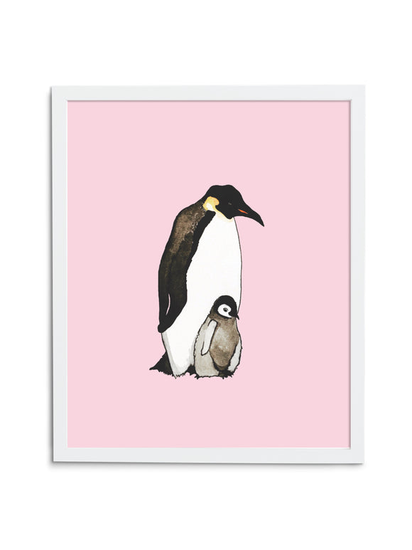 Pink Emperor Penguin Dad and Baby Art Print in White Frame