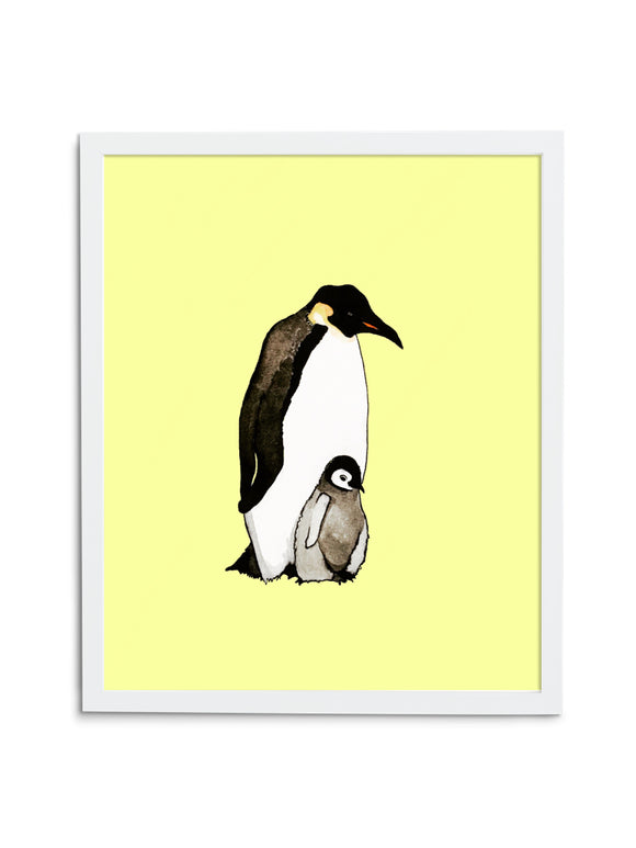 Yellow Emperor Penguin Dad and Baby Art Print in White Frame