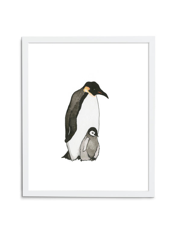 White Emperor Penguin Dad and Baby Art Print in White Frame
