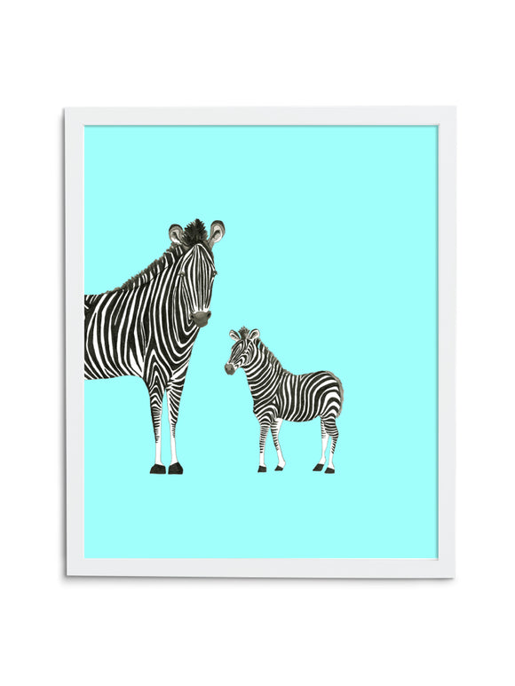 Zebra Duo—Blue - Wee Wild Ones - Art Prints