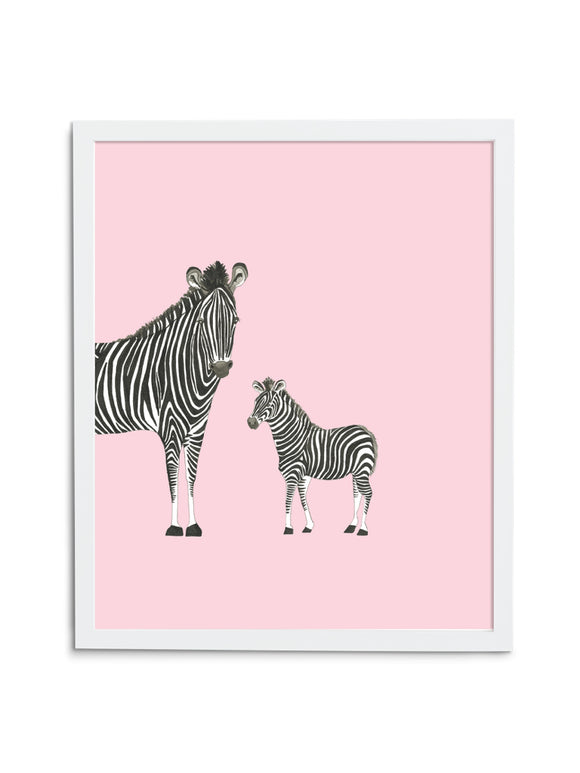 Zebra Duo—Pink - Wee Wild Ones - Art Prints