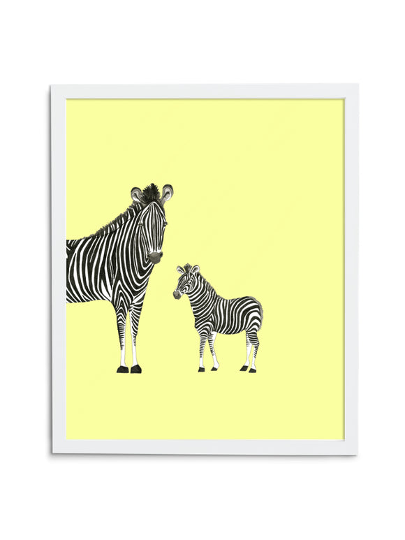 Zebra Duo—Yellow - Wee Wild Ones - Art Prints