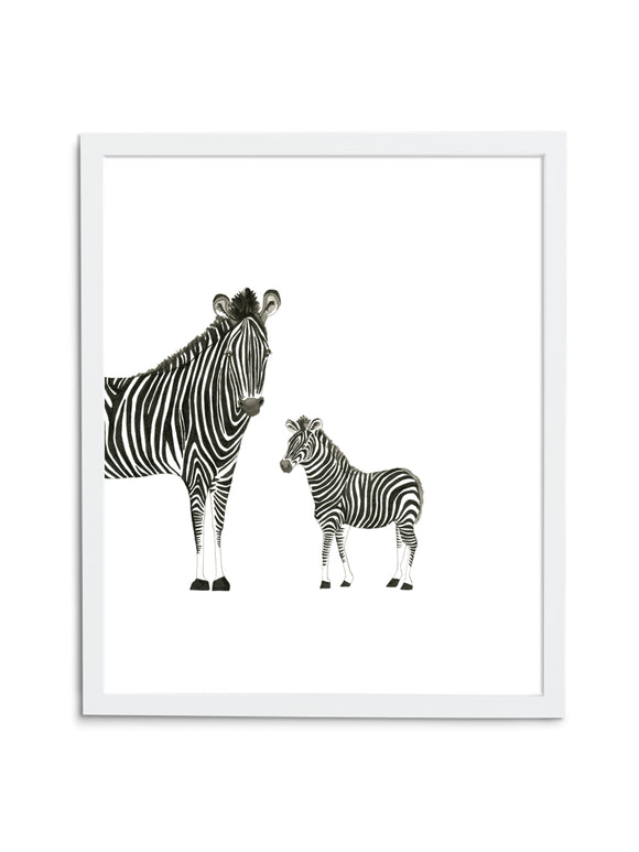 Zebra Duo—White - Wee Wild Ones - Art Prints