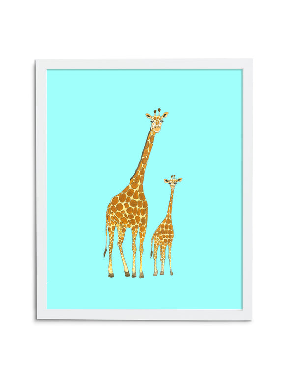 Giraffe Pair—Blue - Wee Wild Ones - Art Prints