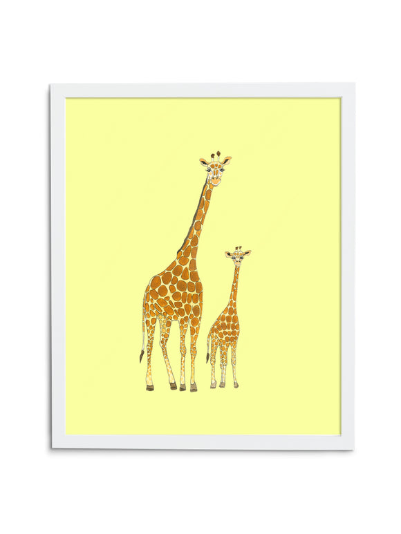 Giraffe Pair—Yellow - Wee Wild Ones - Art Prints
