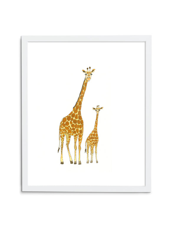 Giraffe Pair—White - Wee Wild Ones - Art Prints