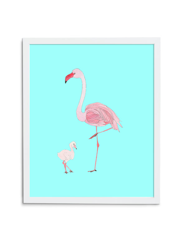 Blue Flamingo Mom and Baby Art Print in White Frame