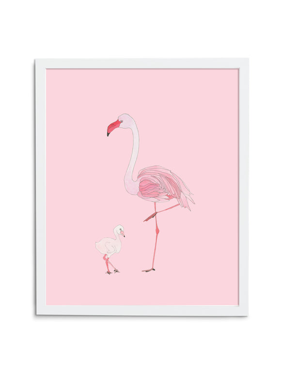 Pink Flamingo Mom and Baby Art Print in White Frame