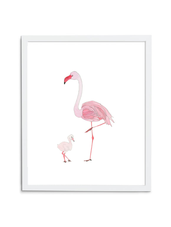 Flamingo Mom and Baby Art Print on White Background in White Frame