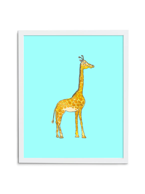 Giraffe Baby—Blue - Wee Wild Ones - Art Prints