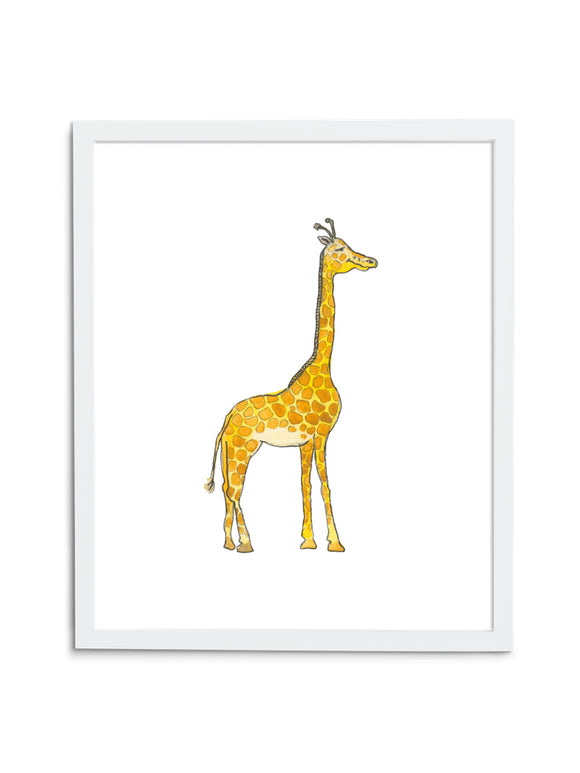 Giraffe Baby—White - Wee Wild Ones - Art Prints