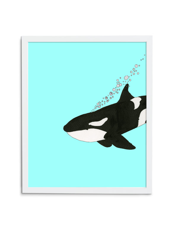 Orca—Blue - Wee Wild Ones - Art Prints