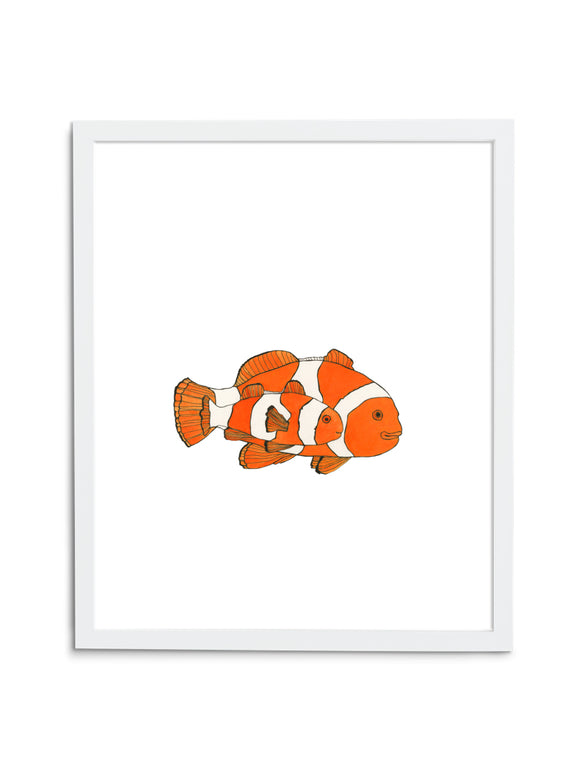 White Clownfish Art Print with White Frame