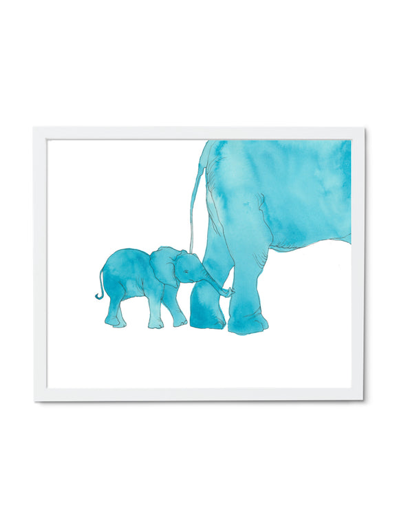 Elephant Mom and Baby Art Print in White Frame