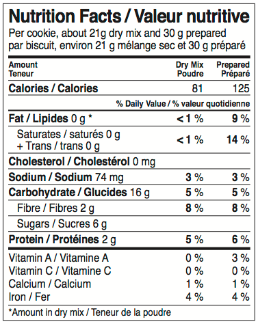 GRAINSTORM All Oatmeal Cookie Mix Nutrition Facts Label