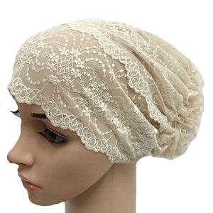 Flower Style Soft Breathable Stretchable Lace Muslim Hijab Caps FPSWS024