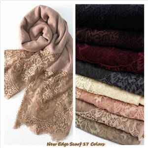 Luxury Lace edge scarves embroider flowers shawl and wraps cotton viscose FPSWS024
