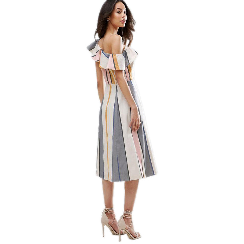 high waist vacation beach knee-length dresses for women FPSWD019