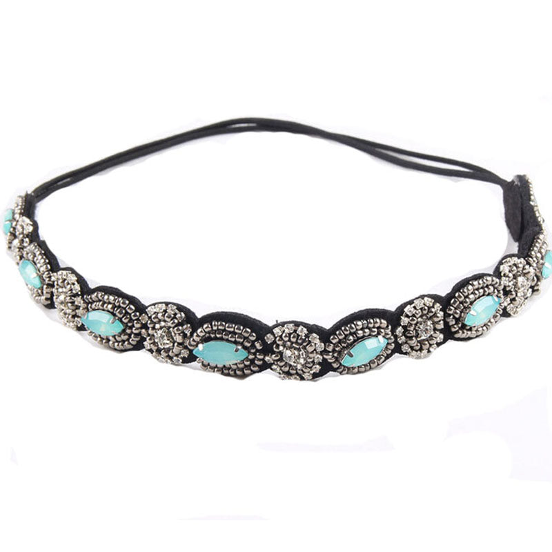 Vintage Bohemian Ethnic Turquoise Metal Beads Flower Crystal FPSWHA20