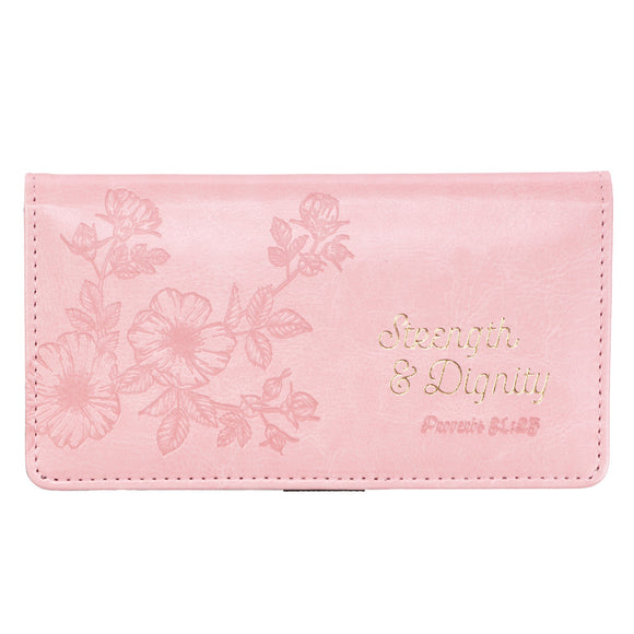 Strength & Dignity Checkbook Cover in Pink – Proverbs 31:25