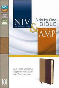 NIV & Amplified Side-By-Side-Camel/Burgundy Duo-Tone