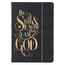 Be Still And Know Black LuxLeather Hardcover Journal