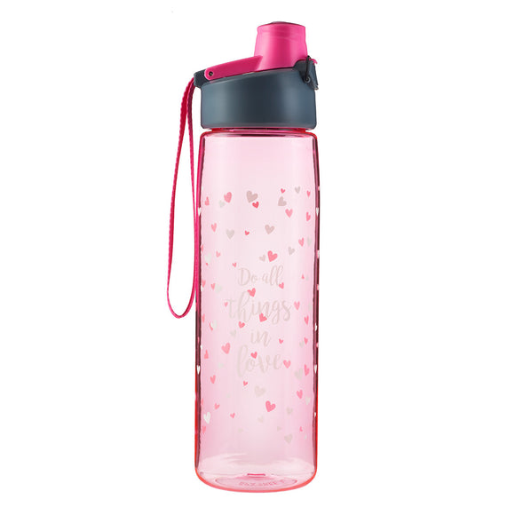 Pink Do All Things in Love Plastic Water Bottle