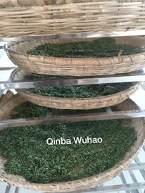 Drying Qinba Wu Hao tea, Daba Mountain, China