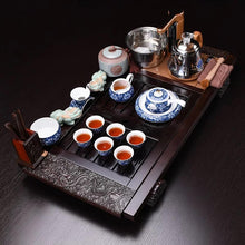 Complete Kung Fu Tea Set package, Solid wood, modern ceramic