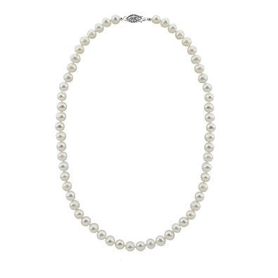 Pearlpro White 7.5-8.0mm A Freshwater Cultured Pearl Necklace 17 Inches