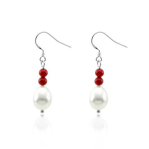 Red Coral and 10-11mm Tear Drop Freshwater Cultured Pearl Earring with Sterling Silver fishhook