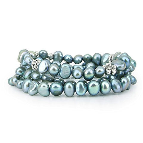 "Genuine Freshwater Cultured Pearl 7-8mm Stretch Bracelets with base-metal-beads (Set of 3) 7.5"" (Aegean Blue)"