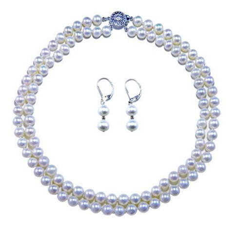 "AA White 2 Rows 8-9mm Freshwater Cultured Pearl High Luster Necklace 17""-18"" Length with set of Matching AA Earring"