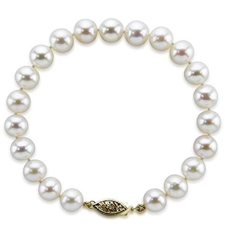 "14K Yellow Gold 6.5-7.0mm White Freshwater Cultured Pearl Bracelet 8.0"" Length - AAA Quality"