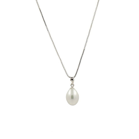 8.0-9.0mm High Luster White Freshwater Cultured Pearl Pendant with Chain 18""