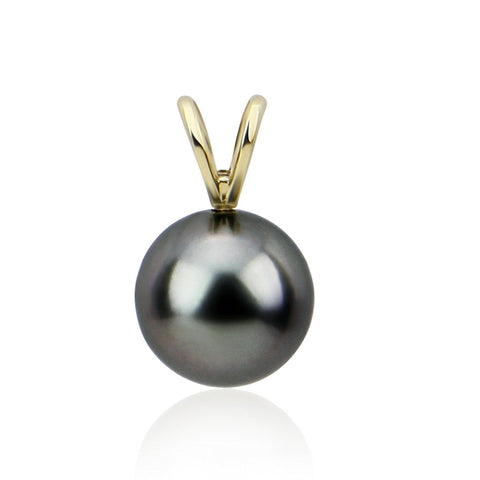 14K Yellow Gold 8.0-9.0mm AAA Quality Elegant Dark Grey Tahitian Cultured Pearl Pendant, Pendant Only