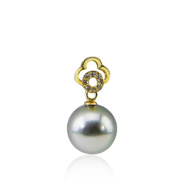 9.0-10.0 mm Elegant Light Grey Tahitian Cultured Pearl Yellow-gold-flashed-silver Pendant, Pendant Only