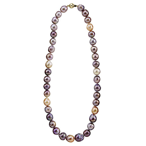 14K Yellow Gold 10.0-13.0mm Multi-color Edison Freshwater Cultured Pearl Necklace 20 Inches