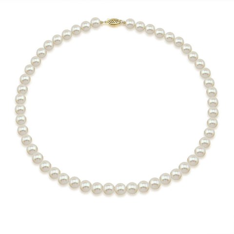 14K Yellow Gold 7.5-8.0mm High Luster White Freshwater Cultured Pearl Necklace, 22 Inch