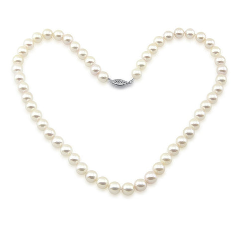 "14k White Gold 7.0-7.5mm White with Ivory Akoya Cultured Pearl High Luster Necklace 18"", AAA Quality."