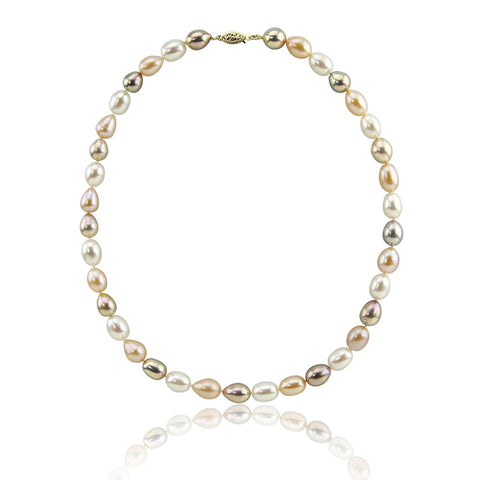 14K Yellow Gold 8.0-9.0 mm Ultra Luster Multi Color Oval Freshwater Cultured Pearl necklace 18""