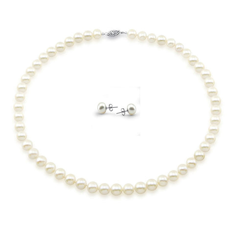 "14k White Gold 8-9mm White Freshwater Cultured Pearl Necklace 18"" Length and Earring Set"