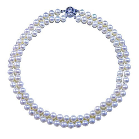 "2 Rows 8-9mm White High Luster Freshwater Cultured Pearl Necklace 17""-18"" with base-metal-clasp"