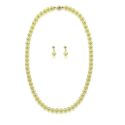 "14k Yellow Gold 6.0-6.5mm Golden Akoya Cultured Pearl High Luster Necklace 18"",Earring Sets, AAA Quality."