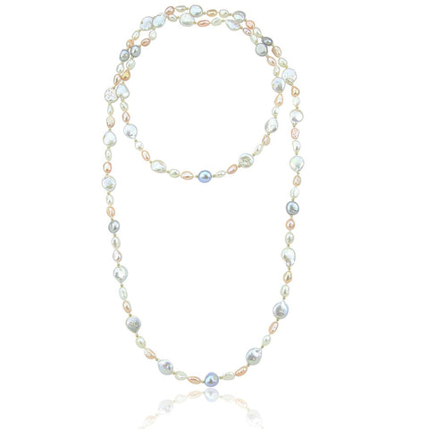 Multi Color Baroque Freshwater Cultured Pearl Endless Necklace (6-13 mm), 50""